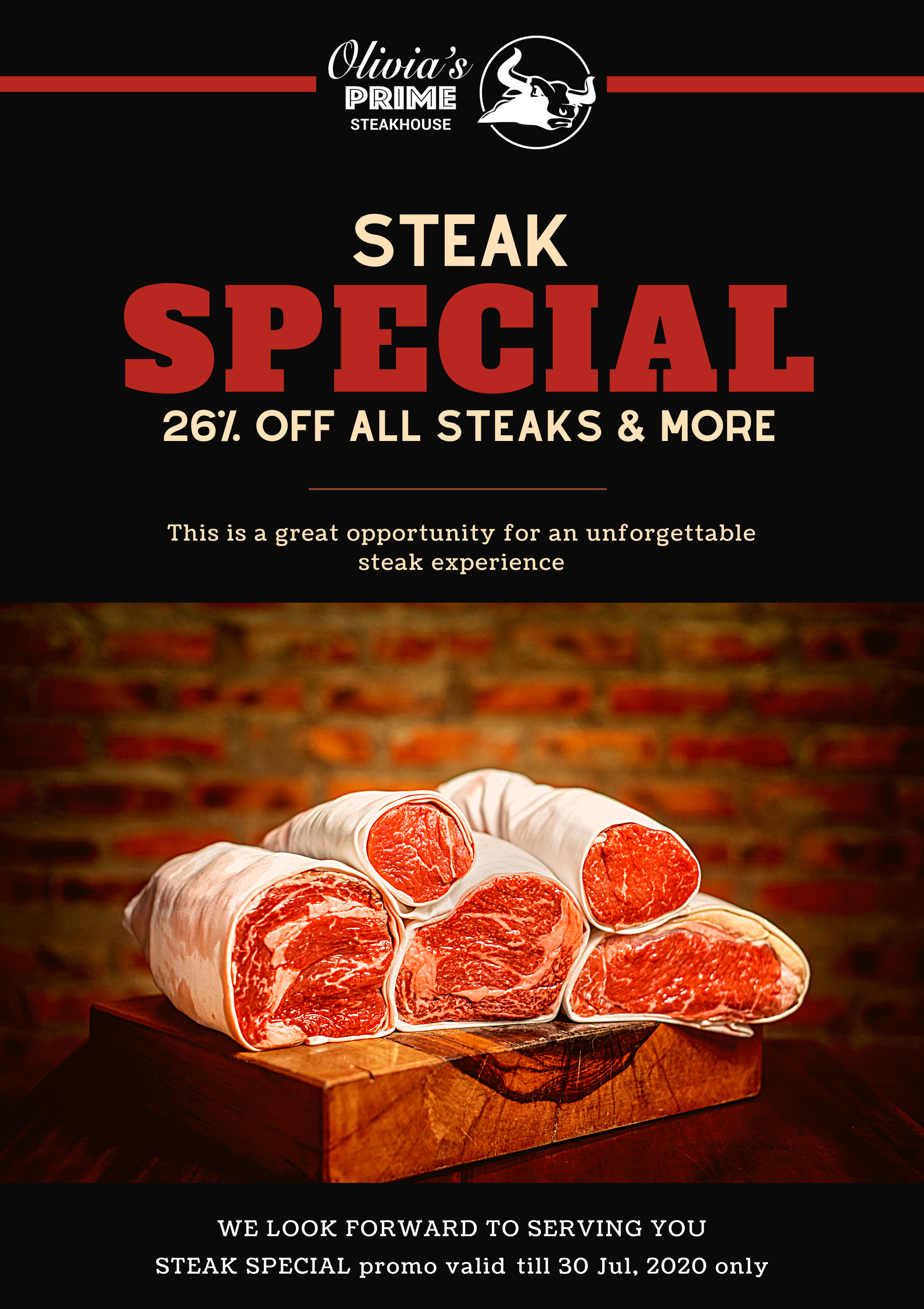 Olivia's Prime Steakhouse - STEAK SPECIAL PROMOTION EXTEND