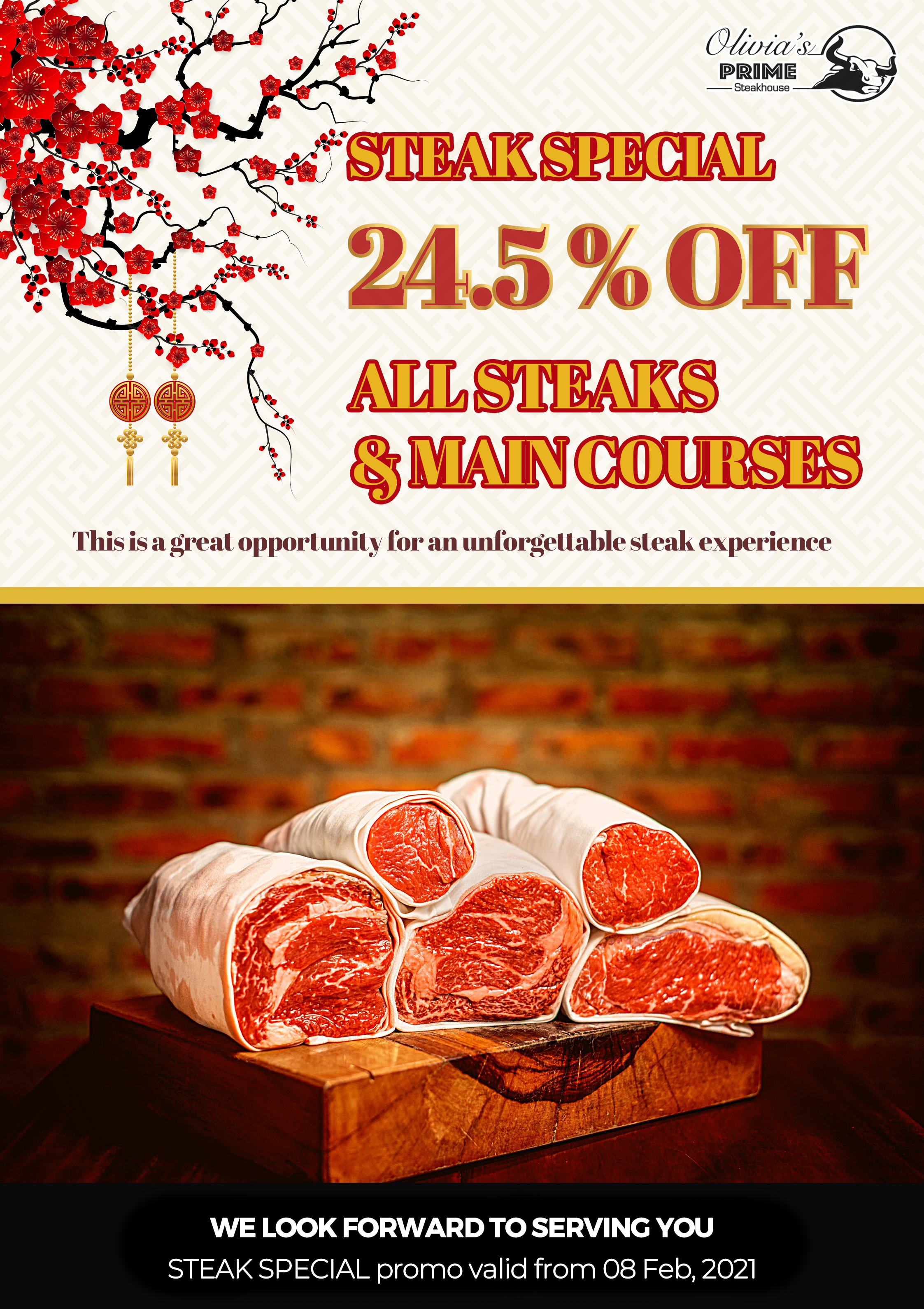 Promotion 24.5% All Steaks and Main Course