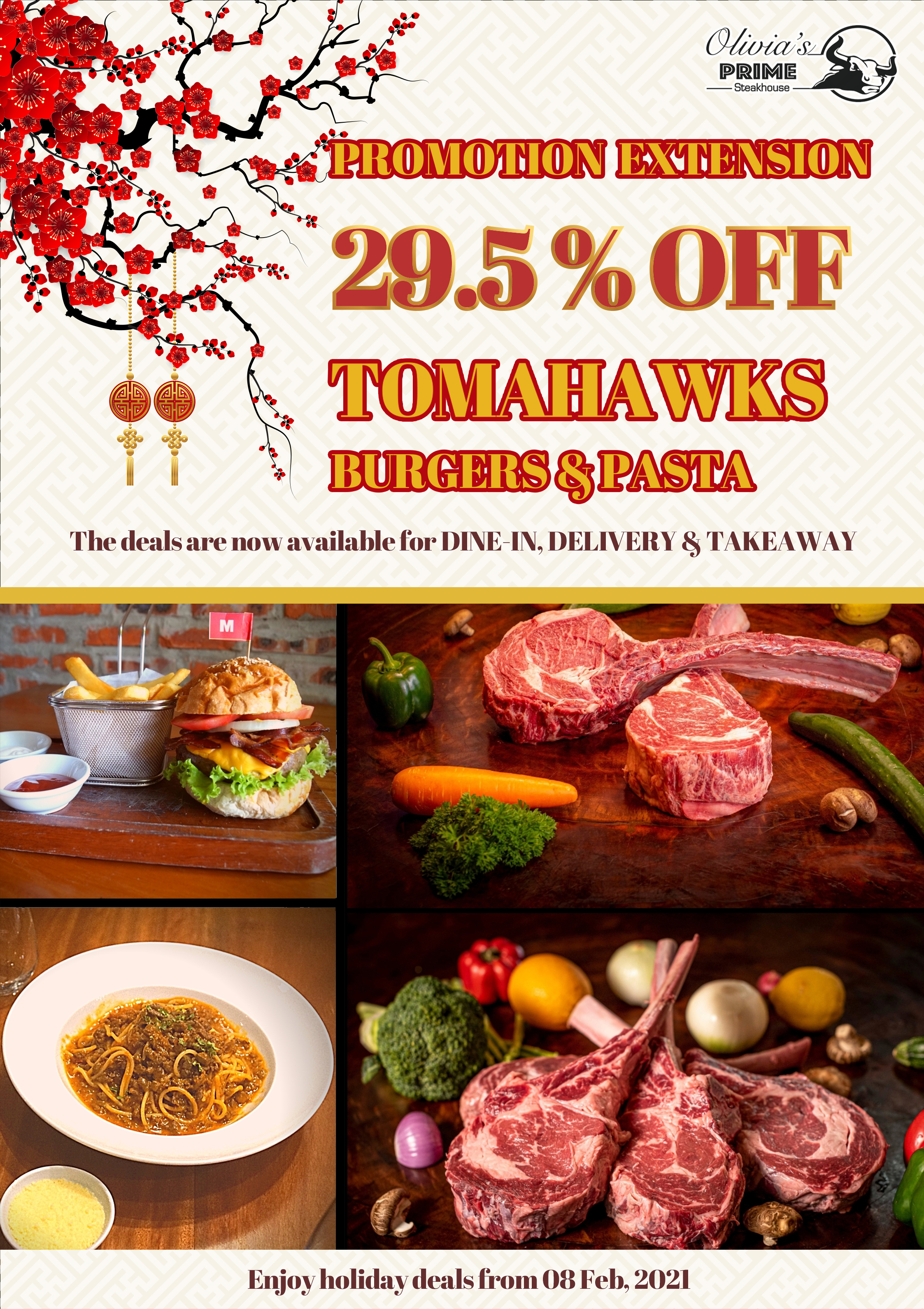 Promotion 29.5% Tomahawks Burger and Pasta
