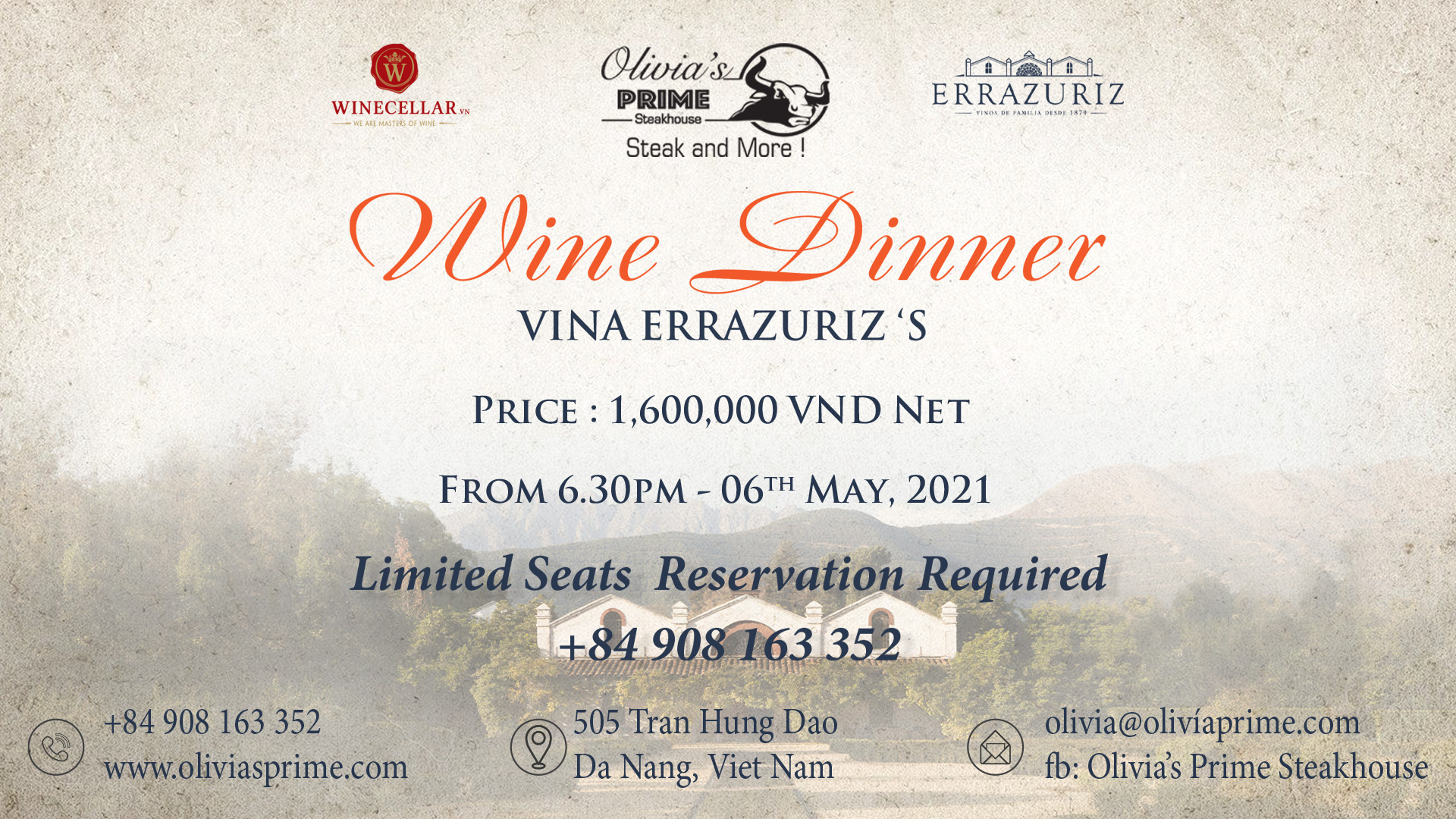 Olivia's Prime Steakhouse - Wine Dinner Vina Errazuriz